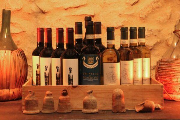 vino rosso brunello, rosso biologico e vernaccia biologica vena di vino volterra